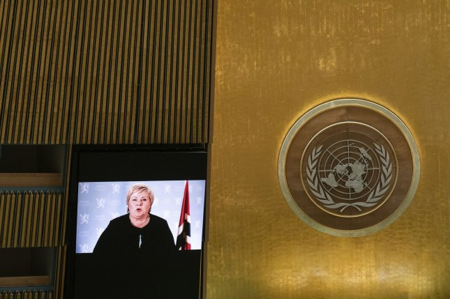 Norwegian Prime Minister Erna Solberg delivers a prerecorded address on Wednesday at the 76th U.N. General Assembly at U.N. headquarters in New York City. Pool Photo by Eduardo Munoz/UPI