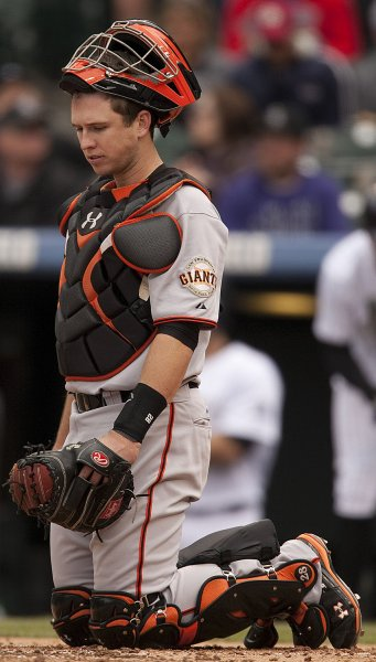 San Francisco Giants catcher Buster Posey and his teammates failed to stop another come from behind win as the Colorado Rockies won 5-3 at Coors Field in Denver on May 17, 2011. UPI/Gary C. Caskey