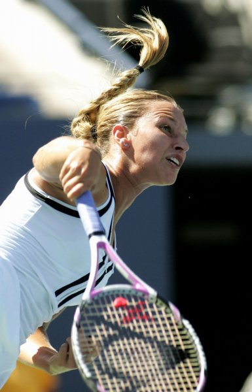 Dominika Cibulkova, shown in a 2010 file photo, defeated world No. 1 Caroline Wozniacki during second-round play of the Medibank International tennis tournament in Australia. UPI/Monika Graff
