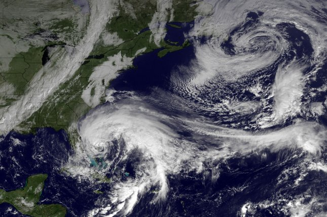 This NOAA satellite image shows Hurricane Sandy as it moves northward along the East Coast of the United States. (File/UPI/NOAA)