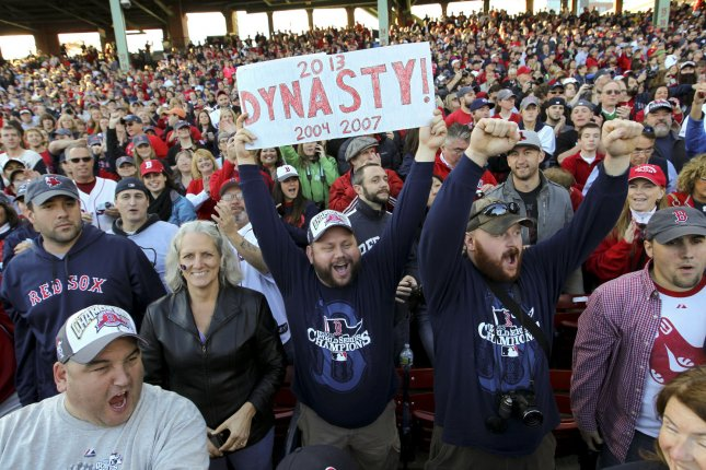 Boston Red Sox fans cheer for their team. UPI/Matthew Healey