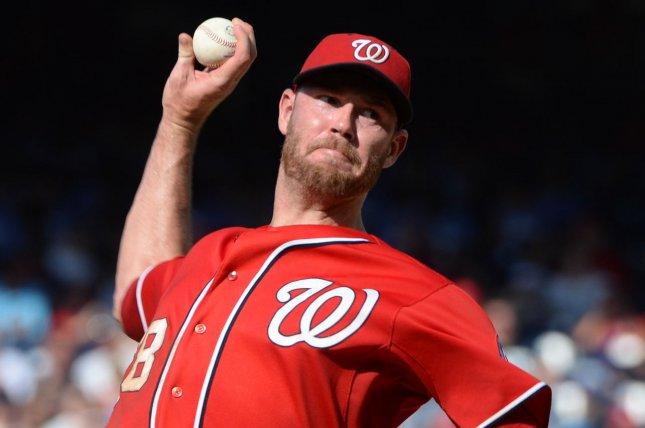 Former Washington Nationals starter Doug Fister delivers a pitch. Fister agreed to a contract with the Los Angeles Angels on Saturday. File photo by Pat Benic/UPI