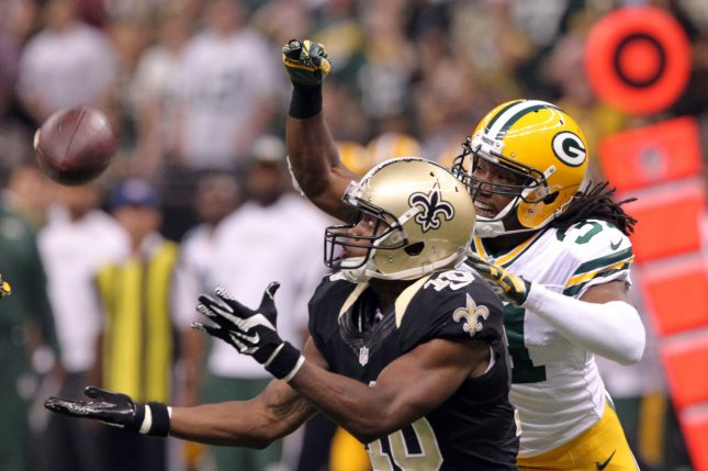 Former New Orleans Saints wide receiver Brandin Cooks (10) has a long Drew Brees pass knocked away by Green Bay Packers cornerback Davon House (31) during the second quarter. File photo by A.J. Sisco/UPI