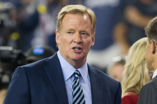 U.S. veterans group AMVETS sent a letter to NFL Commissioner Roger Goodell after the league declined to approve an ad featuring the message Please Stand for its Super Bowl program. File Photo by Matthew Healey/UPI