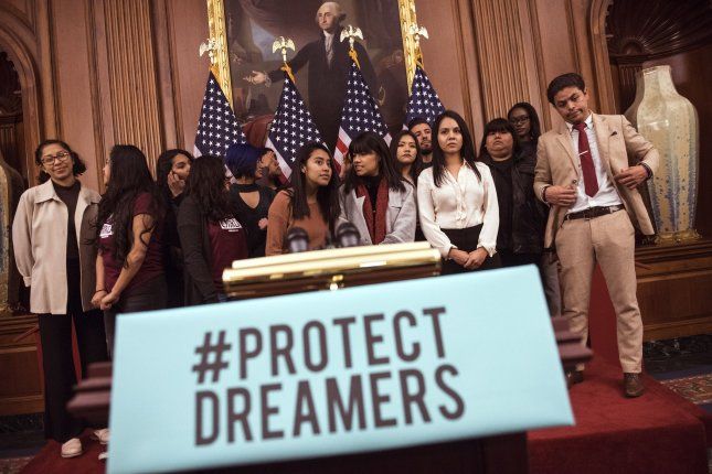 The White House will propose an immigration plan that provides a path to citizenship for 1.8 million undocumented immigrants brought to the United States as children, known as Dreamers, in exchange for a total of $25 billion in funding to construct and secure a border wall between the United States and Mexico. Photo by Kevin Dietsch/UPI