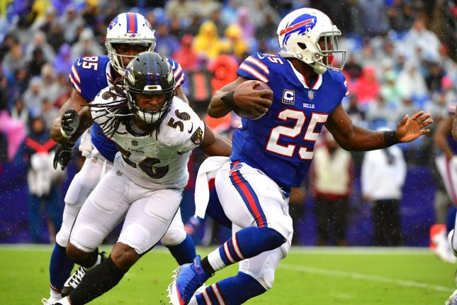Buffalo Bills running back LeSean McCoy (25) rushes against the Baltimore Ravens during their game at M&T Bank Stadium on September 9, 2018. Photo by Kevin Dietsch/UPI