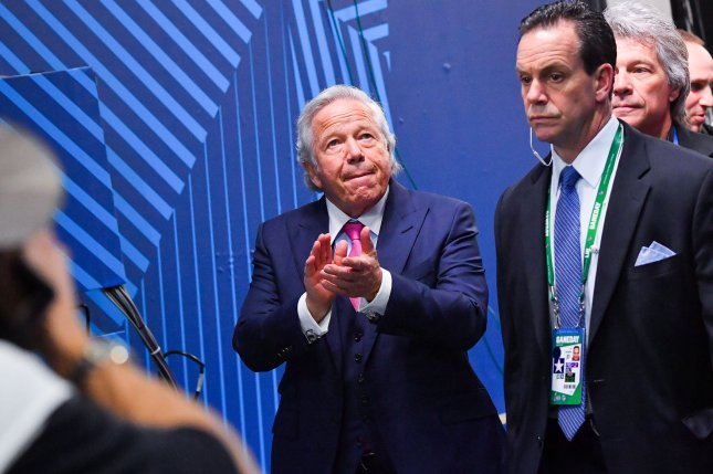 New England Patriots owner Robert Kraft (L) heads out onto the field before the start of Super Bowl LIII at Mercedes-Benz Stadium in Atlanta, Ga., February 3. Photo by Kevin Dietsch/UPI
