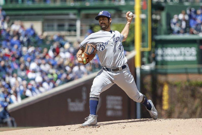 Milwaukee Brewers starting pitcher Gio Gonzalez has a 3.19 ERA this season. File Photo by Kamil Krzaczynski/UPI