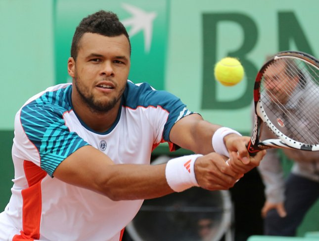 Jo-Wilfried Tsonga, shown at the 2012 French Open is one of two Top 10 players France will have on the court this weekend against Israel in a Davis Cup first-round series. UPI/David Silpa