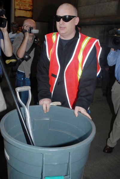 George O Dowd better known as Boy George begins his first of five court ordered community service days working for the Department of Sanitation in New York on August 14, 2006. O'Dowd plead guilty in March 2006 to falsely reporting a burglary at his apartment.The officers found cocaine instead. .(UPI Photo/D.Van