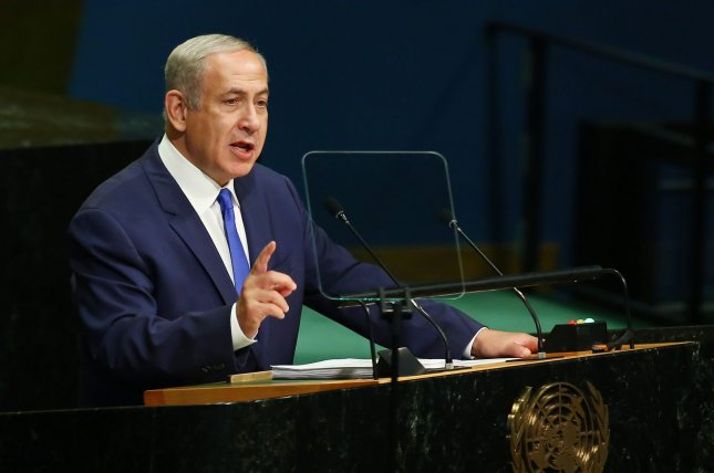 Israeli Prime Minister Benjamin Netanyahu, addresses the 71st session of the General Debate of the United Nations General Assembly at the United Nations in New York City on September 22. On Monday, he said his nation will not attend a French conference aimed at resolving conflict with the Palestinians. File photo by Monika Graff/UPI