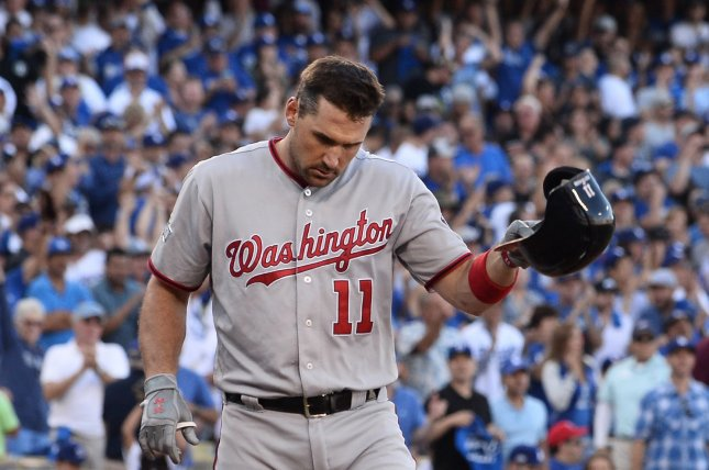 Washington Nationals' Ryan Zimmerman strikes out to end the sixth inning against the Los Angeles Dodgers. File photo by Jim Ruyman/UPI