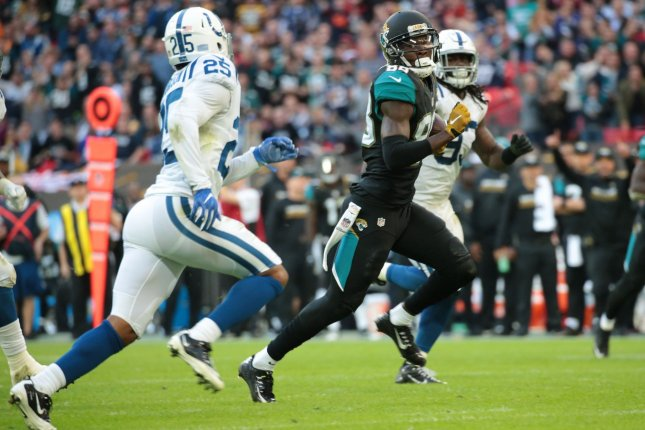 Former Jacksonville Jaguars wide receiver Allen Hurns runs in a 42-yard touchdown in their game against the Indianapolis Colts on October 2, 2016 at Wembley Stadium in London. File photo by Hugo Philpott/UPI