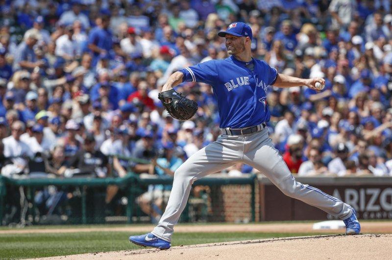 Toronto Blue Jays starting pitcher J.A. Happ. File photo by Kamil Krzaczynski/UPI