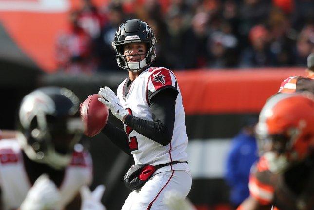 Atlanta Falcons quarterback Matt Ryan (2) looks to throw a pass against the Cleveland Browns on November 11, 2018 at FirstEnergy Stadium in Cleveland, Ohio. Photo by Aaron Josefczyk/UPI