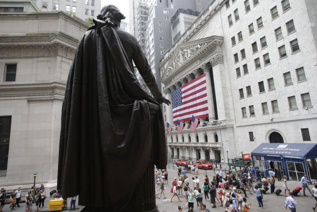 A statue of George Washington is seen on the steps of Federal Hall near the New York Stock Exchange. File Photo by John Angelillo/UPI