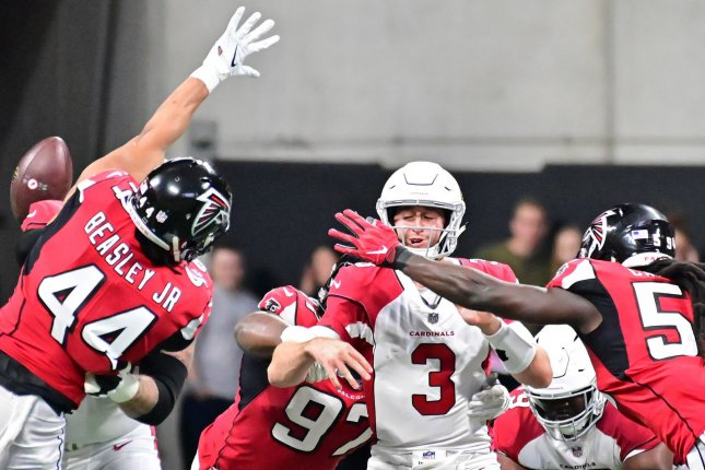 Arizona Cardinals quarterback Josh Rosen threw 11 touchdowns and 14 interceptions in 14 games during his rookie campaign in 2018. File Photo by David Tulis/UPI