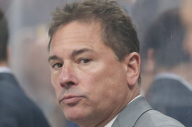 Boston Bruins head coach Bruce Cassidy ranted about the league's officiating after the St. Louis Blues picked up a 2-1 win in Game 5 of the Stanley Cup Final on Thursday night. File Photo by Bill Greenblatt/UPI