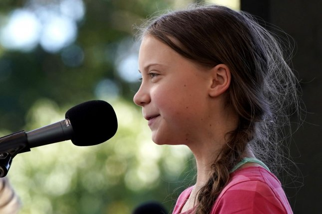 Swedish environmental activist Greta Thunberg speaks on September 20 at the Global Climate Strike in New York City. File Photo by John Angelillo/UPI