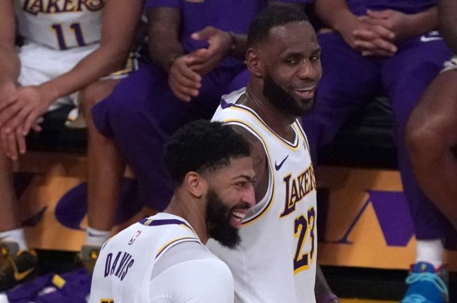 Los Angeles Lakers stars Anthony Davis (3) and LeBron James (23) have led the team to a Western Conference-leading 30-7 record this season. Photo by Jon SooHoo/UPI