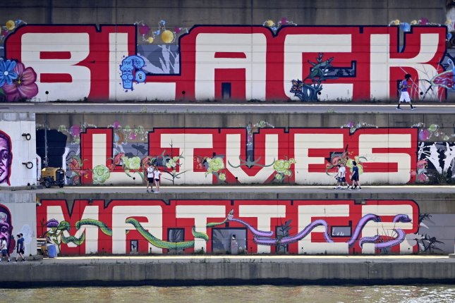 A composite image of a Black Lives Matter mural is pictured in Pittsburgh, Pa., last Friday. Photo by Archie Carpenter/UPI