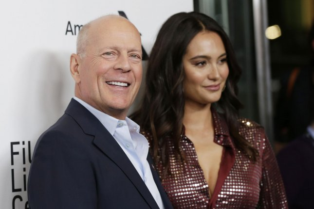 Bruce Willis (L), pictured with Emma Heming, spoke out after he reportedly refused to wear a face mask at a pharmacy during the COVID-19 pandemic. File Photo by John Angelillo/UPI