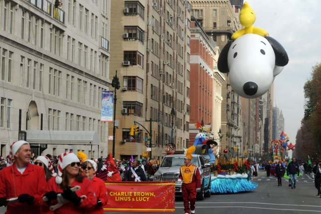 The Snoopy Balloon makes its way down the parade route at the 89th Macy's Thanksgiving Day Parade in New York City on November 26, 2015. Photo by Dennis Van Tine/UPI