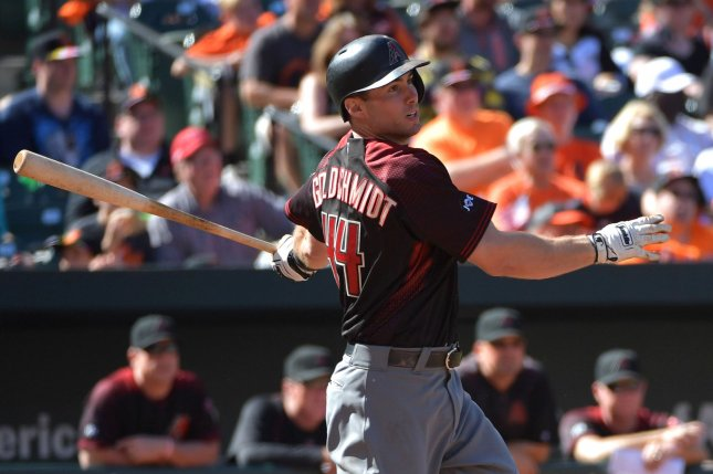 Paul Goldschmidt drove in four runs and Zack Greinke won his spring training debut as the Arizona Diamondbacks coasted to a 15-3 rout of a split Los Angeles Dodgers squad in a spring training game on Friday in Scottsdale, Ariz. File Photo by Kevin Dietsch/UPI