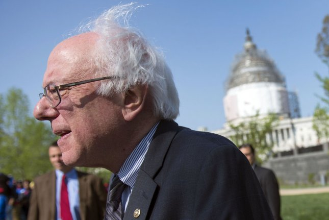 Sen. Bernie Sanders led a rally on Capitol Hill on Wednesday to back legislation that would increase the federal hourly minimum wage to $9.25 this year, $12 in 2020 and $15 in 2024. File Photo by Kevin Dietsch/UPI