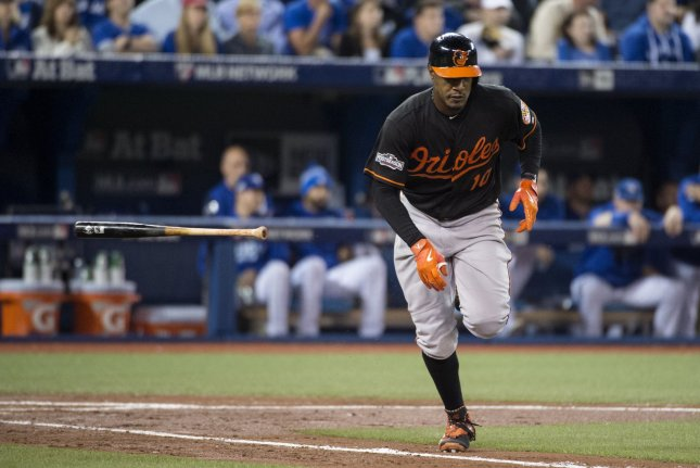 Baltimore Orioles' Adam Jones throws his bat following a hit. File photo by Darren Calabrese/UPI