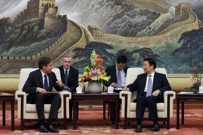 U.S. Deputy Secretary of State Antony Blinken (L) talks with Chinese Vice President Li Yuanchao on February 11, 2015. Blinken said the Obama administration offered to talk about preparations for a potential North Korea collapse, but Beijing did not respond to the call. Pool Photo by Andy Wong/UPI