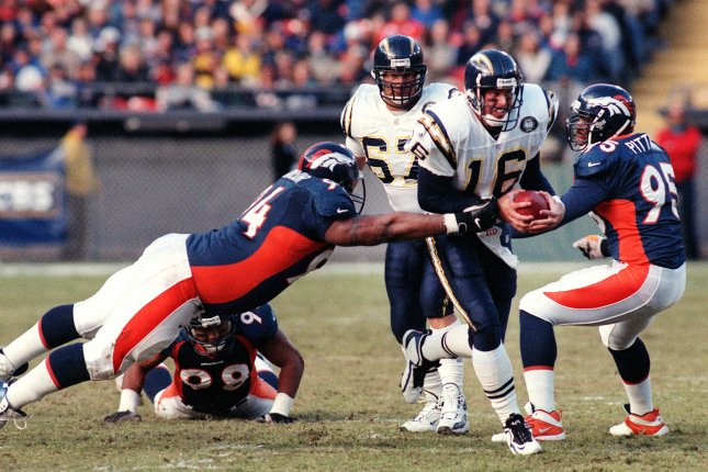 Former San Diego Chargers quarterback Ryan Leaf was the No. 2 overall pick in the 1998 NFL Draft. Leaf played in the league for four seasons before being released by the Dallas Cowboys in 2001. File Photo by Bill Ross/UPI