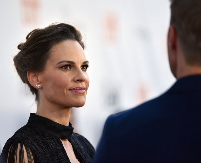 Universal Pictures has canceled the theatrical release of actress Hilary Swank's movie, The Hunt. File Photo by Christine Chew/UPI