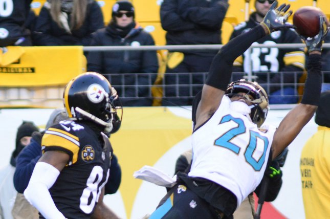 Jacksonville Jaguars cornerback Jalen Ramsey (20) demanded a trade before the team's Week 3 win against the Denver Broncos, but still played in the game. He sat out Wednesday's practice session due to a back injury. File Photo by Archie Carpenter/UPI