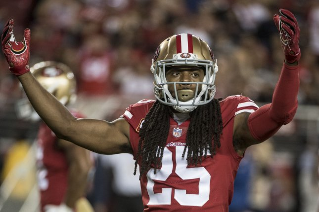 San Francisco 49ers cornerback Richard Sherman (pictured) appeared to shake hands with Cleveland Browns quarterback Baker Mayfield during the coin flip Monday night. File Photo by Terry Schmitt/UPI