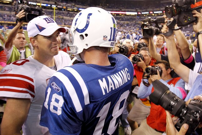 Peyton and Eli will bring a different approach, delving into conversation about broader, big-picture topics while also honing in on the game, ESPN said.File Photo by Mark Cowan/UPI
