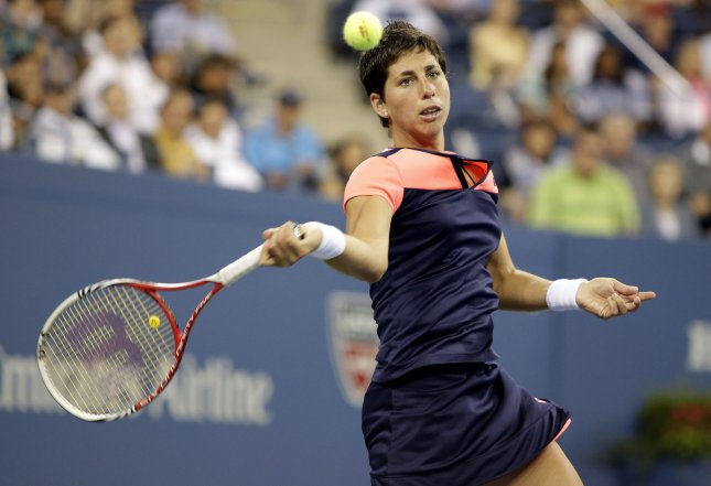 Carla Suarez Navarro, shown during the 2013 U.S. Open, picked up a win Tuesday that put her in the second round of the Open GDF Suez WTA tournament in Paris. UPI/John Angelillo