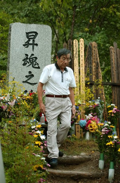 Haruka Nishimatsu, head of Japan Airlines, is pictured Aug. 12, 2006, at a memorial in Ueno Village, Japan, to victims of a JAL crash in the area Aug. 12, 1985. It was the world's worst single-plane aviation disaster, killing 520 people.. (UPI Photo/Keizo Mori)