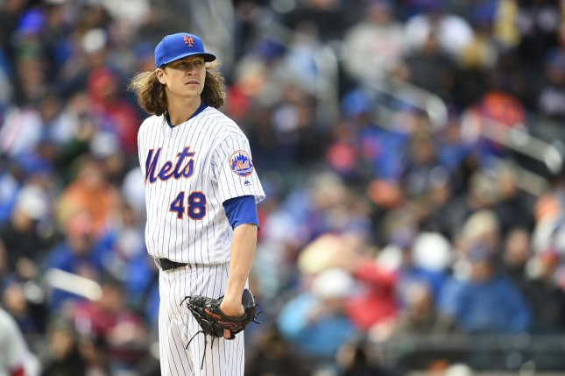 New York Mets starting pitcher Jacob deGrom (48). Photo by Rich Kane/UPI