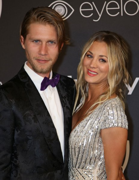 Kaley Cuoco (R) and Karl Cook attend the InStyle and Warner Bros. Golden Globes after-party on January 8. File Photo by David Silpa/UPI