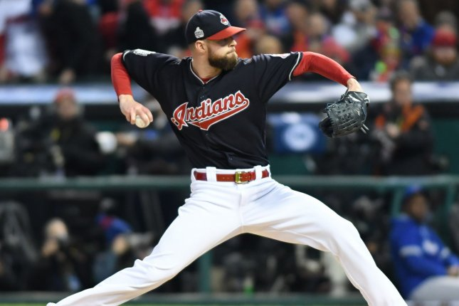 Cleveland Indians starting pitcher Corey Kluber throws a pitch. Kluber returned from the disabled list Thursday and made his first start in close to a month. File photo by Kyle Lanzer/UPI