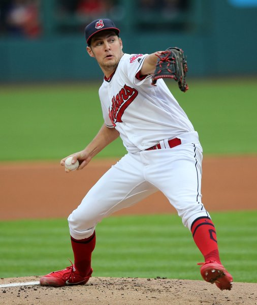 Trevor Bauer and the Cleveland Indians edged the Baltimore Orioles on Sunday for their 18th straight win. Photo by Aaron Josefczyk/UPI