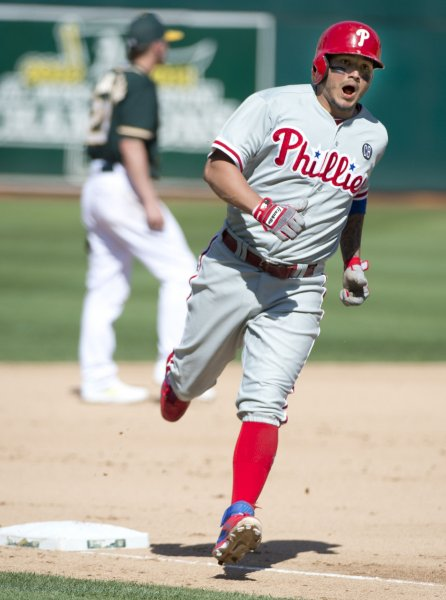 Former Philadelphia Phillies shortstop Freddy Galvis is headed to the San Diego Padres. File photo by Terry Schmitt/UPI