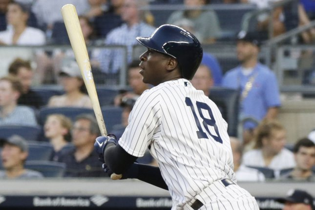New York Yankees batter Didi Gregorius hits a double in the fourth inning against the Boston Red Sox on June 29, 2018 at Yankee Stadium in New York City. Photo by John Angelillo/UPI