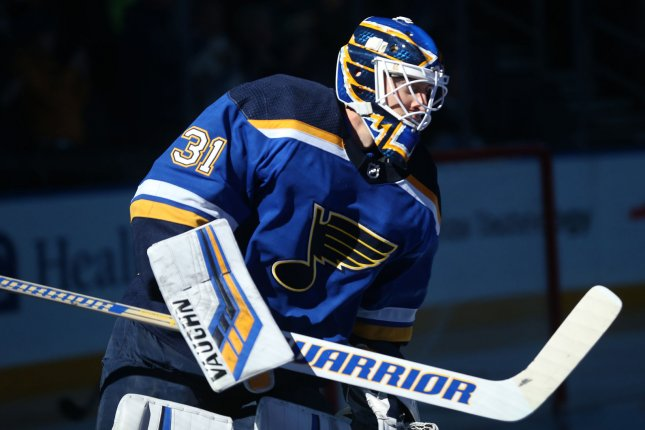 Chad Johnson and the St. Louis Blue take on the Minnesota Wild on Sunday. Photo by Bill Greenblatt/UPI