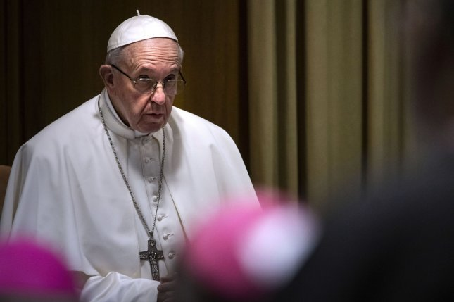 Pope Francis attends the second session of The Protection Of Minors In The Church meeting at the Synod Hall in the Vatican City on Friday. Photo by Galosi Spaziani/UPI