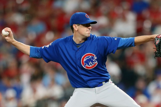 Chicago Cubs starting pitcher Kyle Hendricks allowed seven hits and had seven strikeouts in seven scoreless innings against the St. Louis Cardinals Wednesday in St. Louis. Photo by Bill Greenblatt/UPI