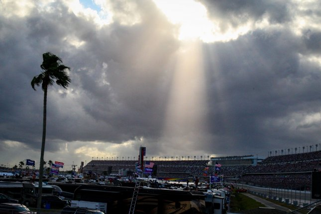 Inclement weather postponed the 62nd annual Daytona 500 on Sunday at the Daytona International Speedway in Daytona Beach, Fla. Photo by Mike Gentry/UPI