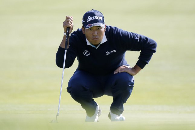 Hideki Matsuyama made an eagle on his final hole of the first round at the 2020 Players Championship Thursday in Ponte Vedra Beach, Fla. File Photo by John Angelillo/UPI