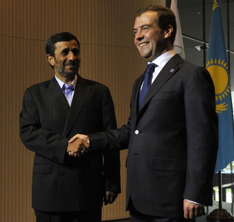 Russian President Dmitry Medvedev (R) shakes hands with Iranian President Mahmoud Ahmadinejad. (UPI Photo/Alex Volgin)